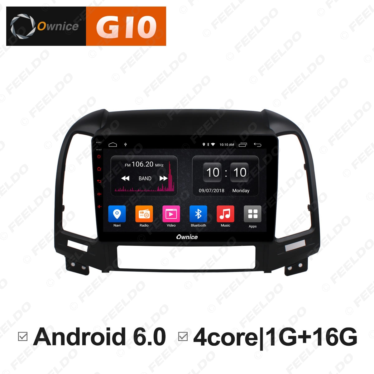 FEELDO 9 Android 6.0 4 Core/DDR3 1G/16G/Support 4G Dongle Car Media Player With GPS/FM/AM RDS Radio For Santa Fe 2007 2010