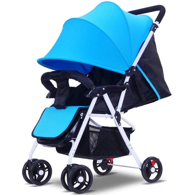 5.5 ultra-léger bébé poussette haut paysage à quatre roues chariot pliable Portable poussette voyage landau pour les nouveau-nés enfants - 2