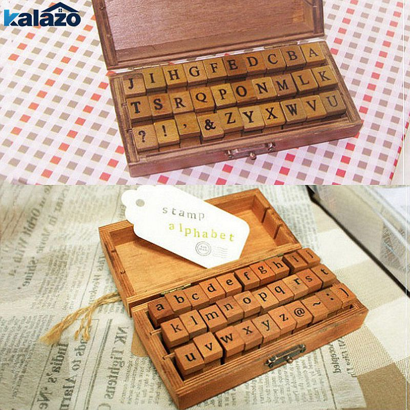 Scrapbooking & Stamping Stamps Careful 70 Pcs Set Alphabet Diy Craft Wooden Symbol Vintage Retro Stamp Letter Number With Wooden Box High Standard In Quality And Hygiene
