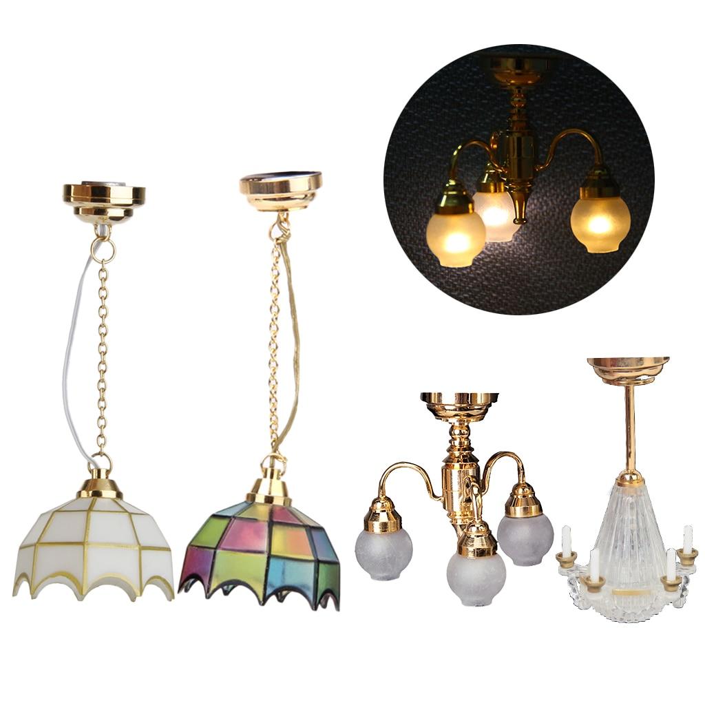 1:12 Dollhouse Ceiling Lamp Working LED Light Miniature