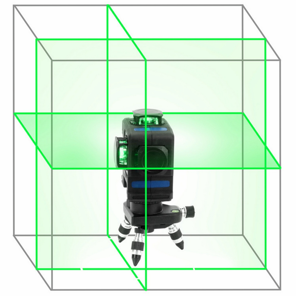 KaiTian 12Lines 3D Laser Level Self-Leveling Horizontal 360 Rotary Vertical Cross Super Powerful Green Laser Beam Line Leve Tool