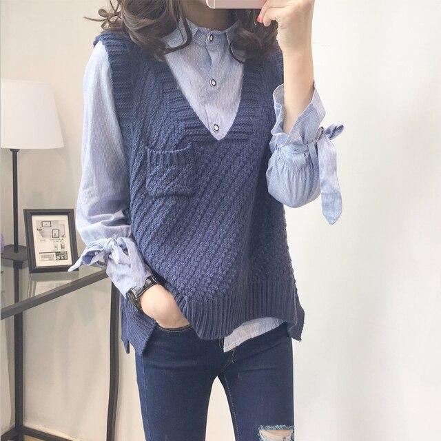 Primavera y otoño nuevo suelta chaleco suéteres casuales de las mujeres de  cuello en V sin 5f9dbfb25841