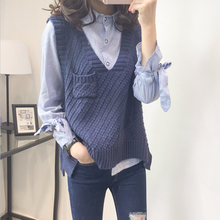 Spring Autumn New Loose Vest Sweaters Women Casual Solid V Neck Sleeveless Split Pullovers Female Knitted Preppy Style Sweater(China)