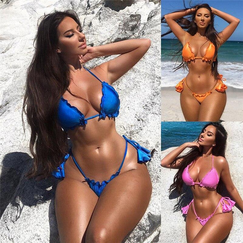 Meihuida Bikinis 2019 Mujer Bikini Women Swimwear Bandage Push-Up Bikini Set Brazilian E Swimsuit Plus Size Swimwear S-XL