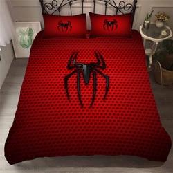 HELENGILI 3D Beddengoed Set Avengers Spiderman Print Dekbedovertrek Bedcloth met Kussensloop Bed Set Huishoudtextiel # TB- 28
