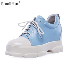 Women Platform Sneaker Genuine Leather New Spring Autumn Casual Mixed Colors Blue Black Ladies Cross-tied Flat With Shoes E021