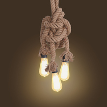 Cafe Bar Home Triple E27 Holders 3 Heads Hemp Rope Light Ceiling Lamp Personality Industrial Vintage Retro Country Style
