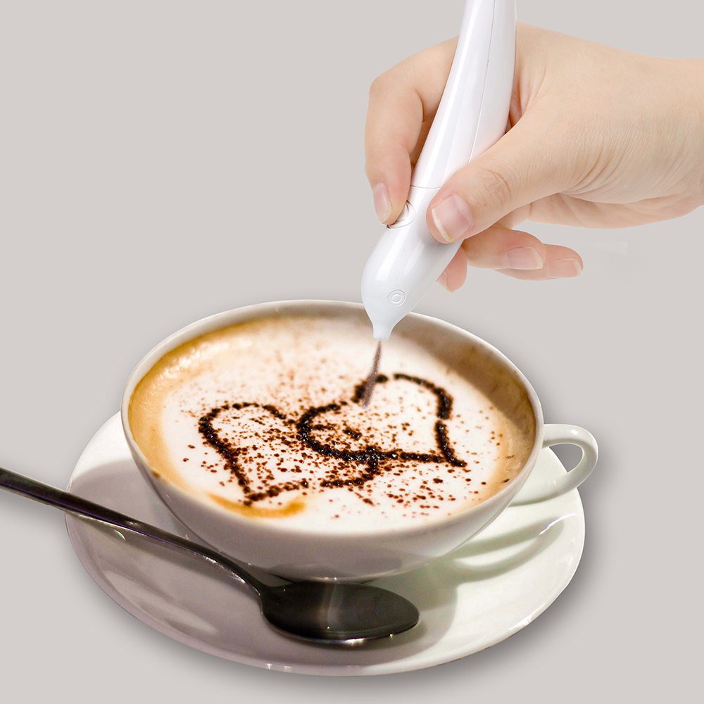 Coffee Carving Pen Coffee Stencils Cake Spice Pen Cake Cappuccino Decoration Pen Electrical Latte Art Pen For Barista Template