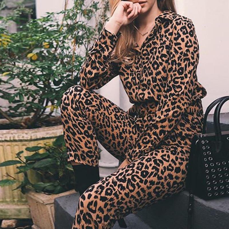 Women Loose   Jumpsuit   Leopard Printed Button Long Sleeve Overalls High Street Fashion Autumn Winter Female Waistband   Jumpsuit