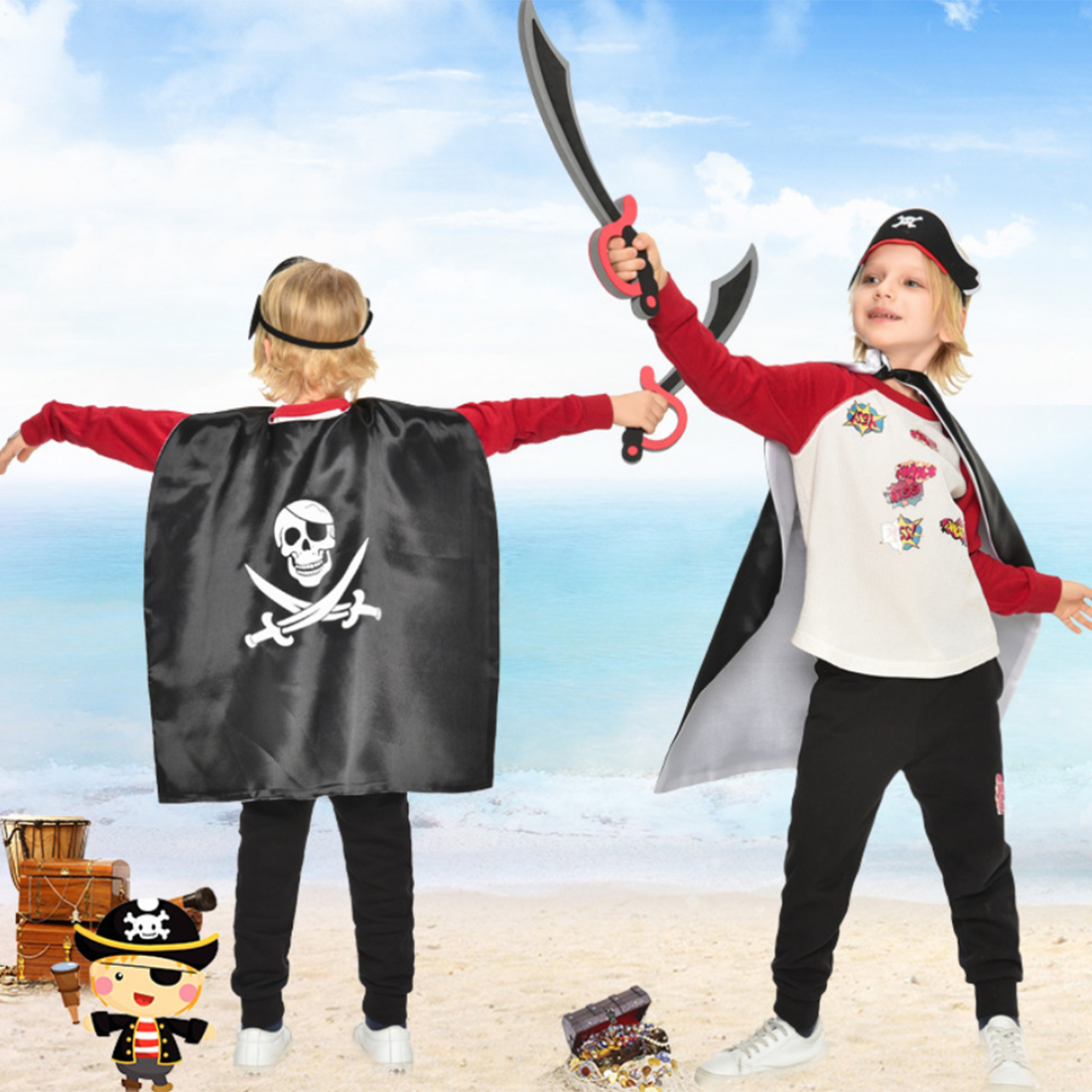 Pirates Party Decoration Role Play Cloak Suit Pirate Cloak Mask Knife Cartoon Hats Children Halloween Birthday Party Supplies