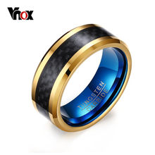 Vnox 8MM Blue Tungsten Carbide Rings for Men Jewelry with Black Carbon Fiber(China)
