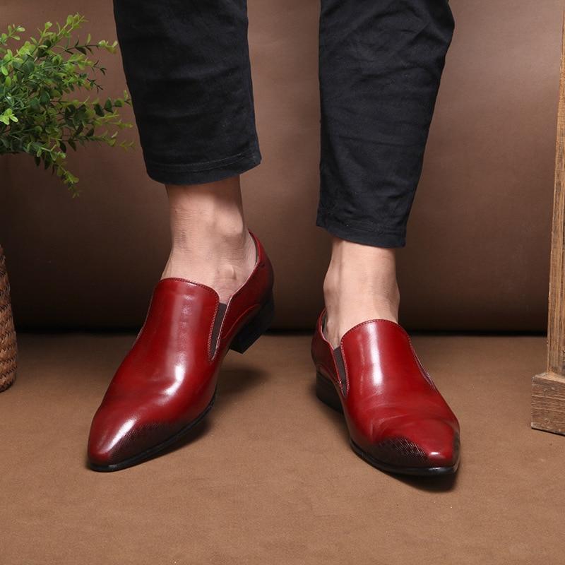 Naturais De Alta Grife Dos Qualidade Preto vermelho Loafers Vestido Real Vinho Couro Homens Casual Negócios Sapatos 7BqgUw1w