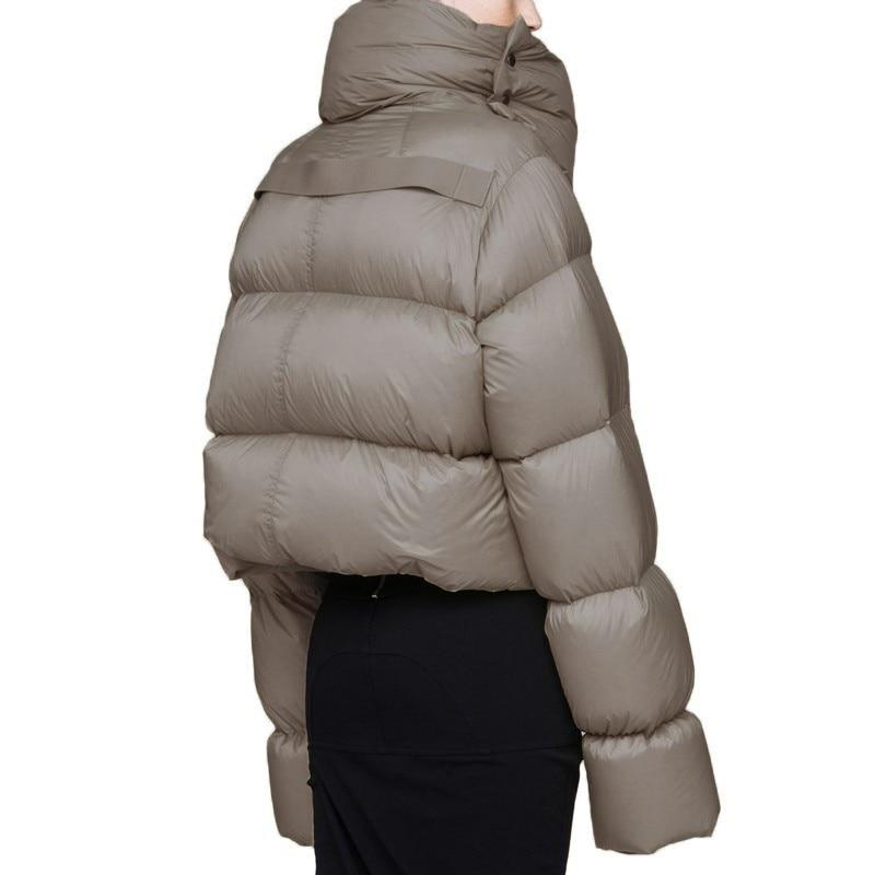 Mince Femmes Plume Okq030 celadon Vestes Blanc Survêtement 2018 Chaud Manteau La Court Veste Col Plus Down Canard Black Puffer Roulé D'hiver Parka Taille qqARw6vX