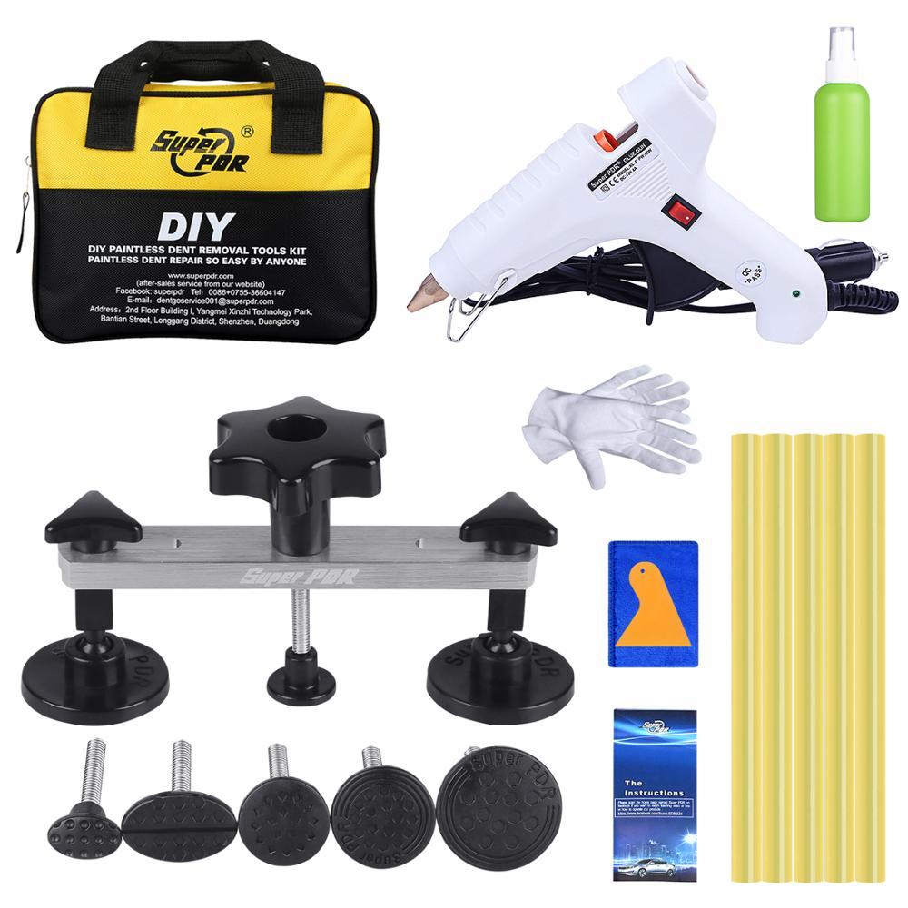Super PDR 12V White Hot Melt Glue Gun For Hot Adhesive Glue Stick Glue Rods Dent Pulling Bridge Paintless Dent Removal Tools Kit