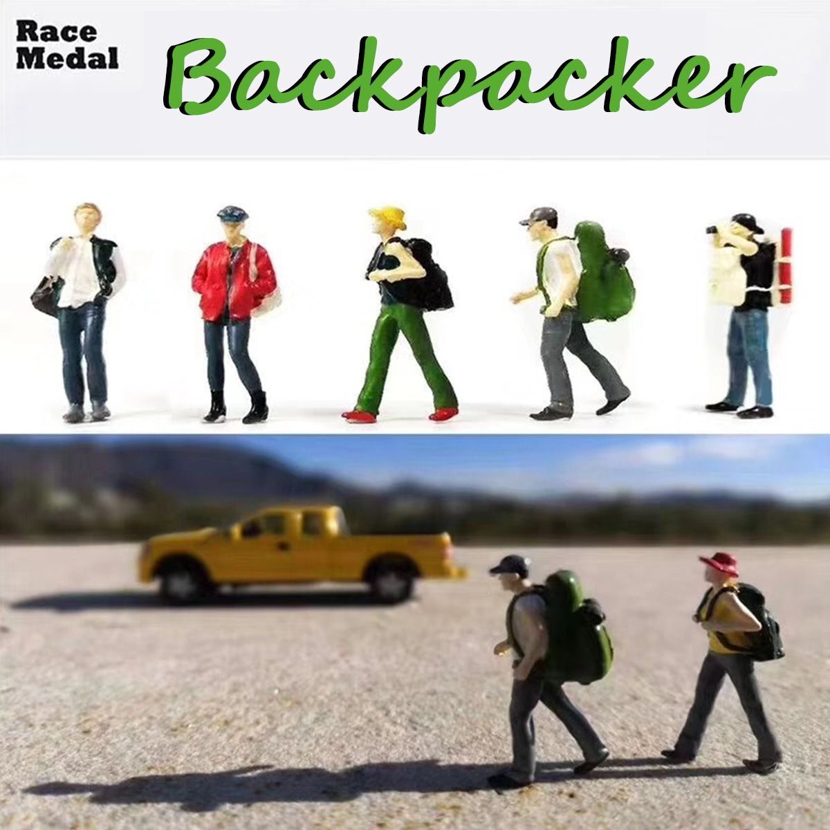 1:64 Scale Figure Backpacker People Group Scenario Model Set For Race Medal Matchbox Children Toy Group People Model