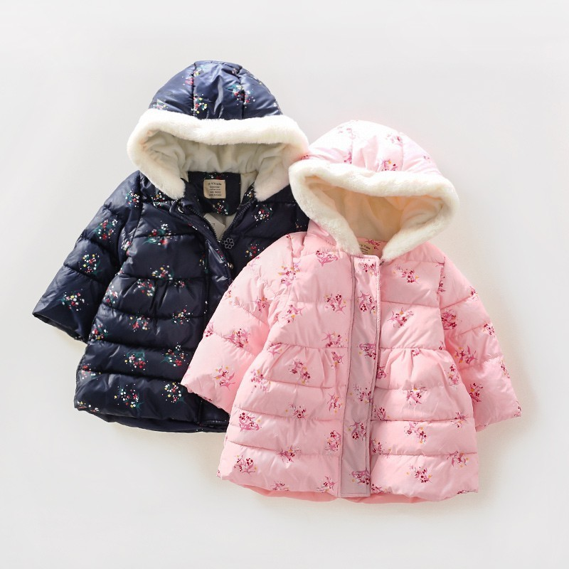 spring baby girl winter jacket print flower hooded kids parkas for girls coat outfit outerwear children