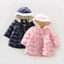 spring baby girl winter jacket print flower hooded kids parkas for girls coat outfit outerwear children's boutiques clothing