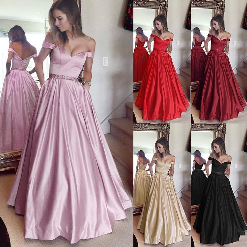 2018 Pink   Prom     Dresses   Long A-line Sleeveless Off-Shoulder Sweetheart New Party Gowns For Wedding Guest Elegant Sexy Gala Jurk