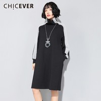 CHICEVER Hit Colors Female Dresses For Women Turtleneck Long Sleeve Loose Thick Warm Dress Autumn Winter Plus Sizes Clothes New