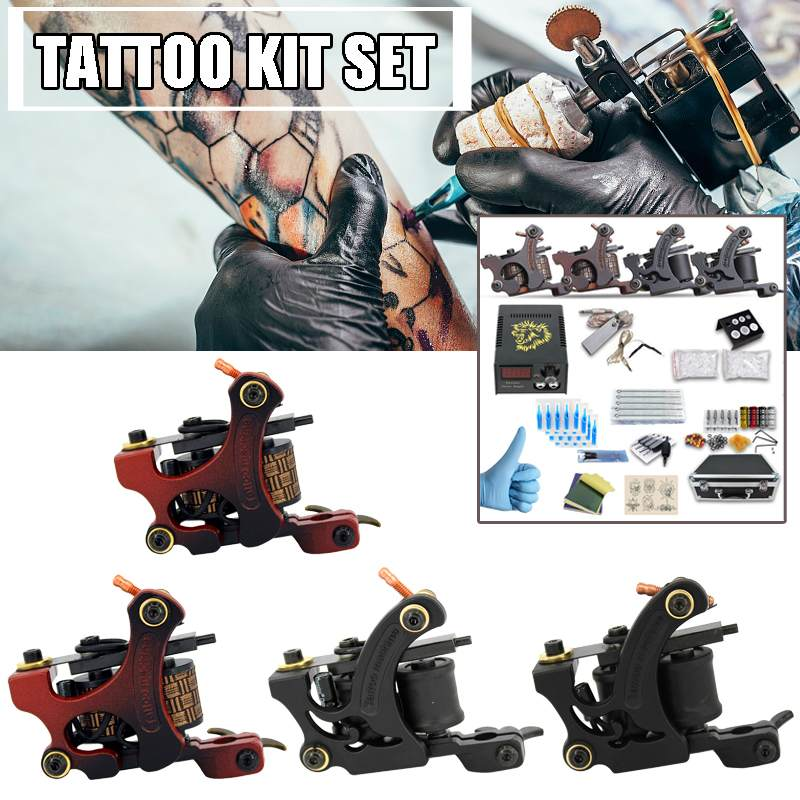 Professional 4 Tattoo Machines  4 Colors Coil Set Tattoo Kit Machine With 110-220V Power Supply For Learner Tattoo PX110018Professional 4 Tattoo Machines  4 Colors Coil Set Tattoo Kit Machine With 110-220V Power Supply For Learner Tattoo PX110018