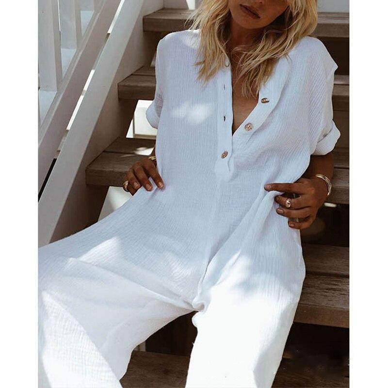 ab56445c Mono holgado para mujer Pantalones largos con cuello de botón holgado playa  verano fiesta talla grande mono Casual algodón lino