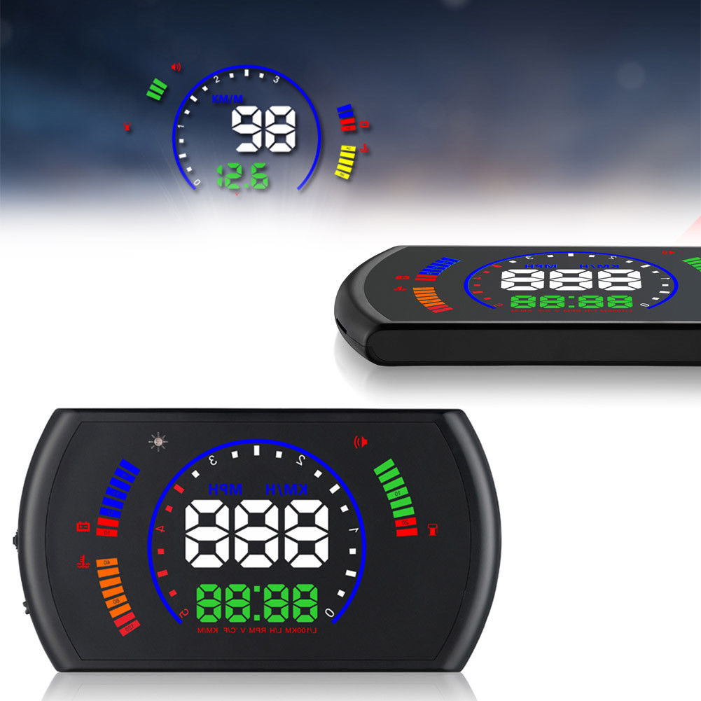 5.8 inch Screen Digital Car HUD power on and off automatically Speedometer Display Head Up GPS MPH KM/h Over speed Alarm