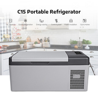 In Stock C15 15L Portable 40W Car Refrigerator For Home Camping Party Quick Refrigeration Shockproof LED Auto Cooler Freezer