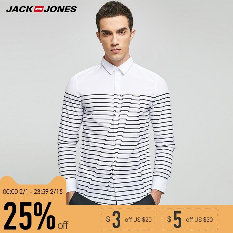 JACK & JONES Brand 2019 NEW regular COTTON smart casual style full length sleeves turn-down collar male shirts |217105508