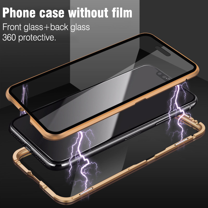 Image 4 - For iphone 8 7 plus iphone X XS Max XR phone case 360 cover coque Luxury Double sided front+back clear glass metal Magnetic case-in Fitted Cases from Cellphones & Telecommunications