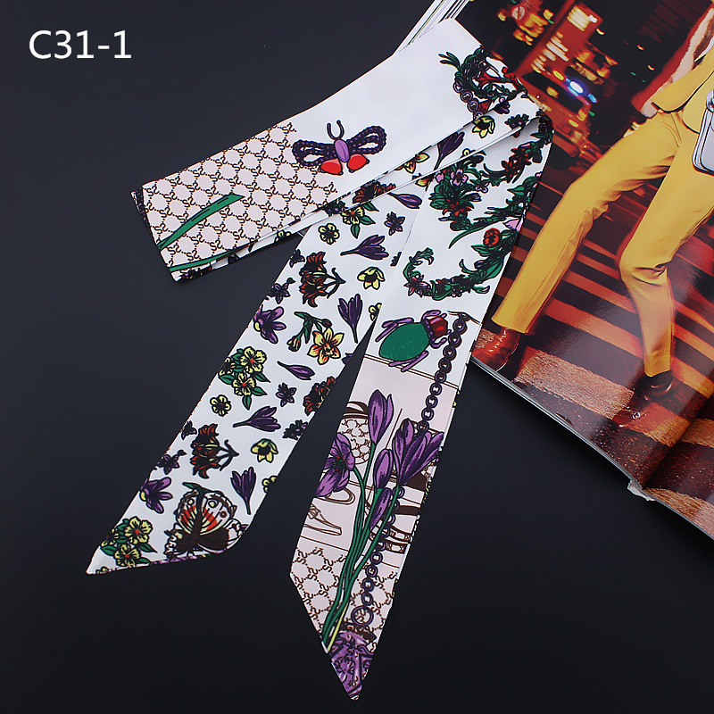 Women Ribbon Bee Printed Twill Small Scarf Hair Band Bag Tied Handle Silk Wraps