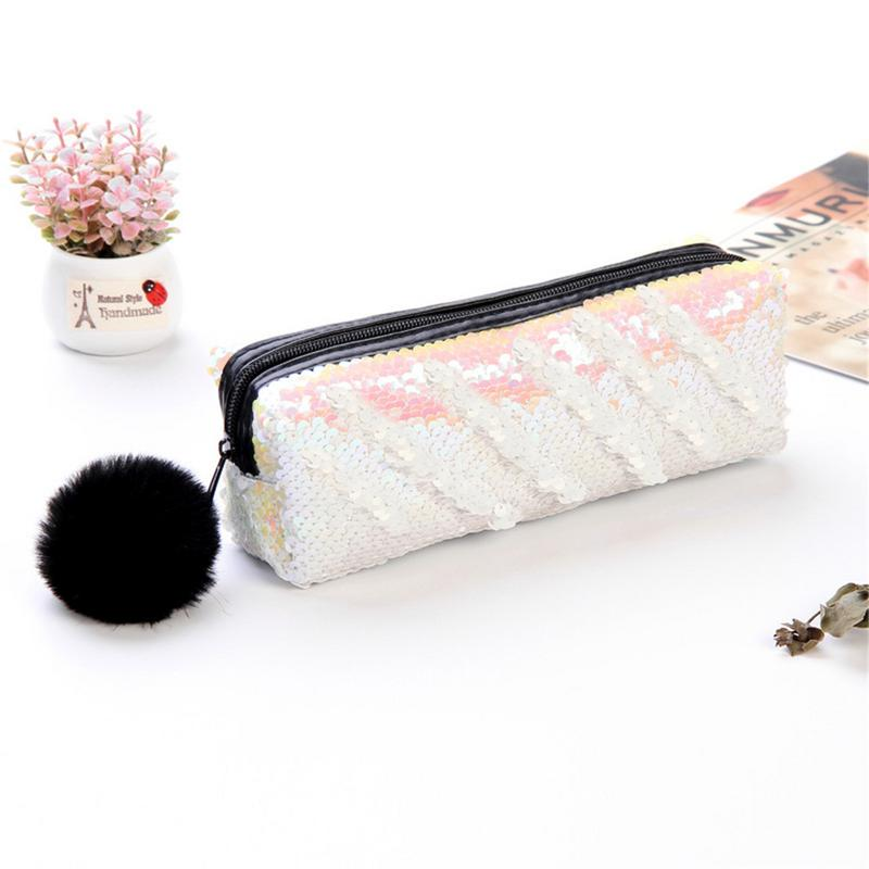 3a0c10e28b58 US $2.24 25% OFF|Reversible Sequin Pencil Case for Girls School Supplies  Super Big School Stationery Storage Box-in Pencil Cases from Office &  School ...