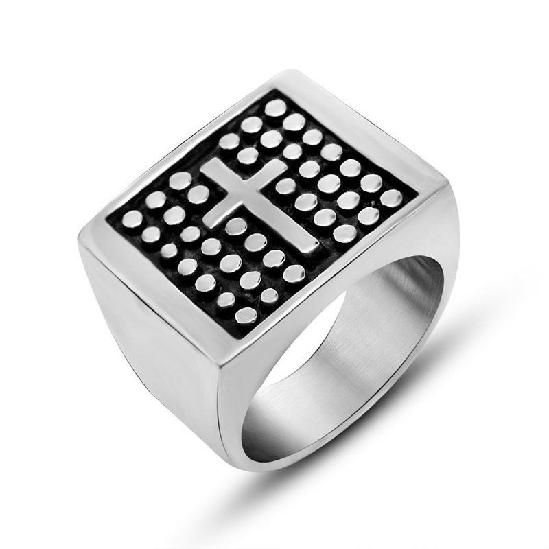Vintage Punk Rock Christian Religion Cross Ring 316L Stainless Steel Rings For Men Father Jewelry Gift image