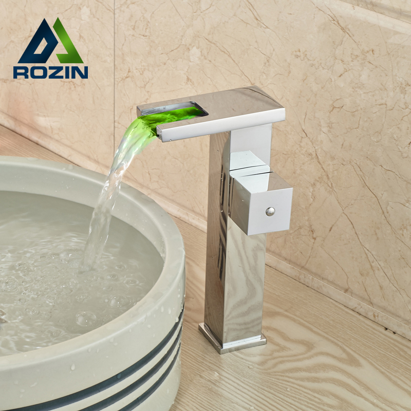 Luxury LED Light Waterfall Bathroom Basin Sink Faucet Single Handle Brass Hot Cold Washbasin Mixer Taps luxury led light bathroom basin faucet single water waterfall square washbasin mixer tap rgb color changing hot and cold taps