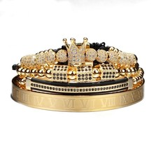 4 Stks/set Gouden Hip Hop Gevlochten Vlechten Armband Mannen Pave Cz Zircon Crown Romeinse Cijfer Armband Luxe Sieraden Dropship