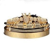 4pcs/set Gold Hip Hop Braided Braiding Bracelet Men Pave CZ Zircon Crown  Roman Numeral Bracelet Luxury Jewelry Dropship