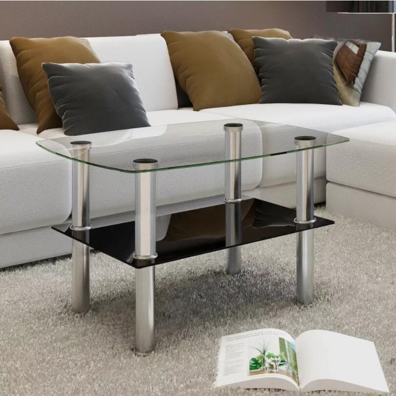 VidaXL Coffee Table With 2 Shelves Glass Tempered Glass Café Tables Suitable For Cafe, Bar, Hotel Office Living Room Furniture