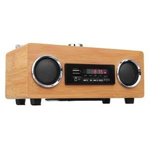 Image 4 - Retro Vintage Radio Super Bass FM Radio Bamboo Multimedia Speaker Classical Receiver USB With MP3 Player Remote Control
