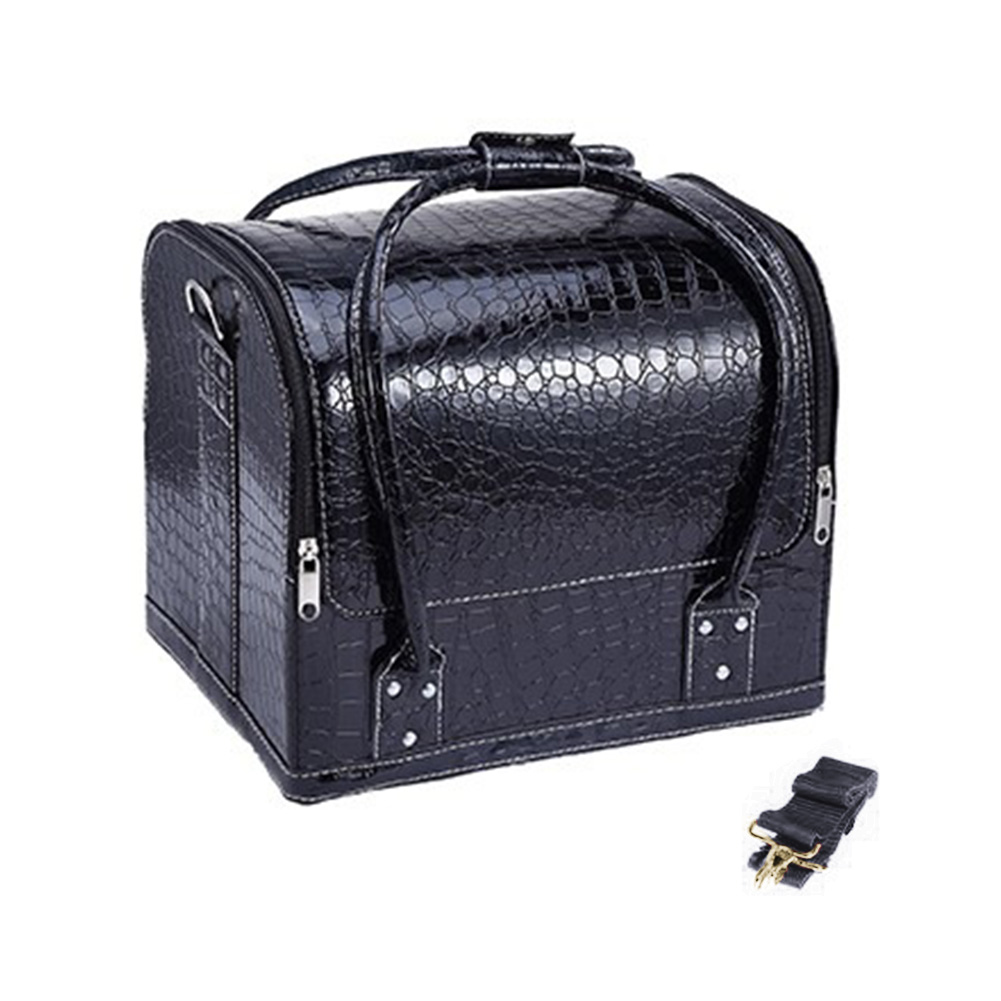 Women's Makeup Bags Cosmetic Cases Fashion PU Leather Luxury Alligator Professional Travel Cosmetic Cases Large Capacity Durable