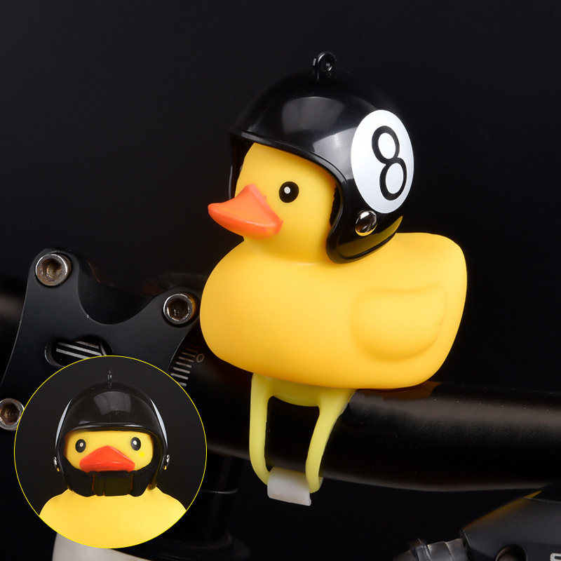 1pc Cartoon Yellow Silica Little Duck Helmet Head Bicycle Light Shining Mountain Bike Handlebar Duck Head Light Bell Accessories(China)