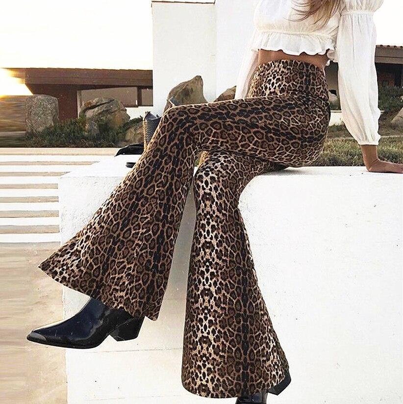 High Street Women High Waist Leopard Print Flare Pants Female Vogue Chic Long Pants Stretchy Trumpet Pants Lady Femme