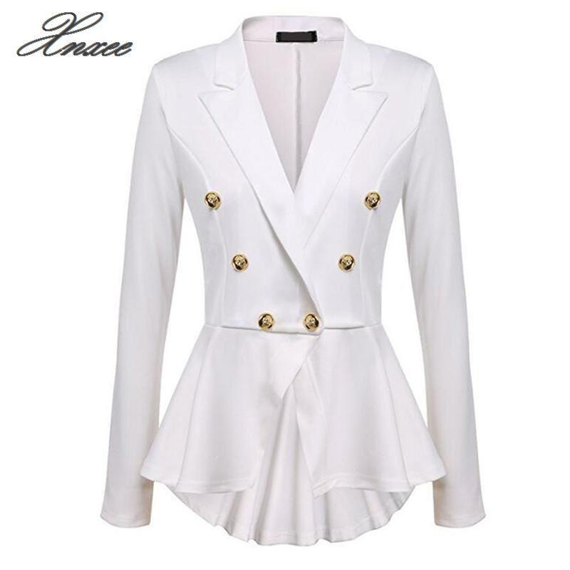 2020 Women Double Breasted Gold Button Military Blazer Ladies Coat Formal Jacket