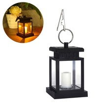 Outdoor Garden Solar Powered Hanging LED Light Flickering Flameless Candle Automated Switch Hanging Smokeless Solar Lantern