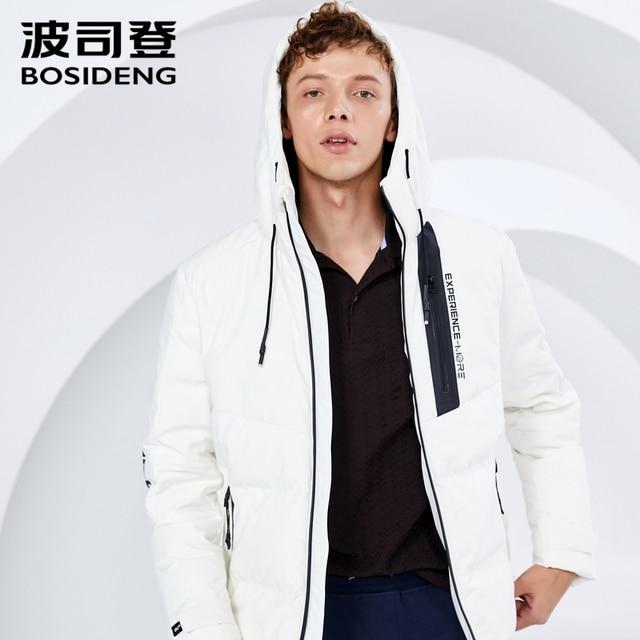 BOSIDENG 2018 новое зимнее пуховое пальто для мужчин короткий пуховик с капюшоном письмо печати свет высокое качество B80142517DS