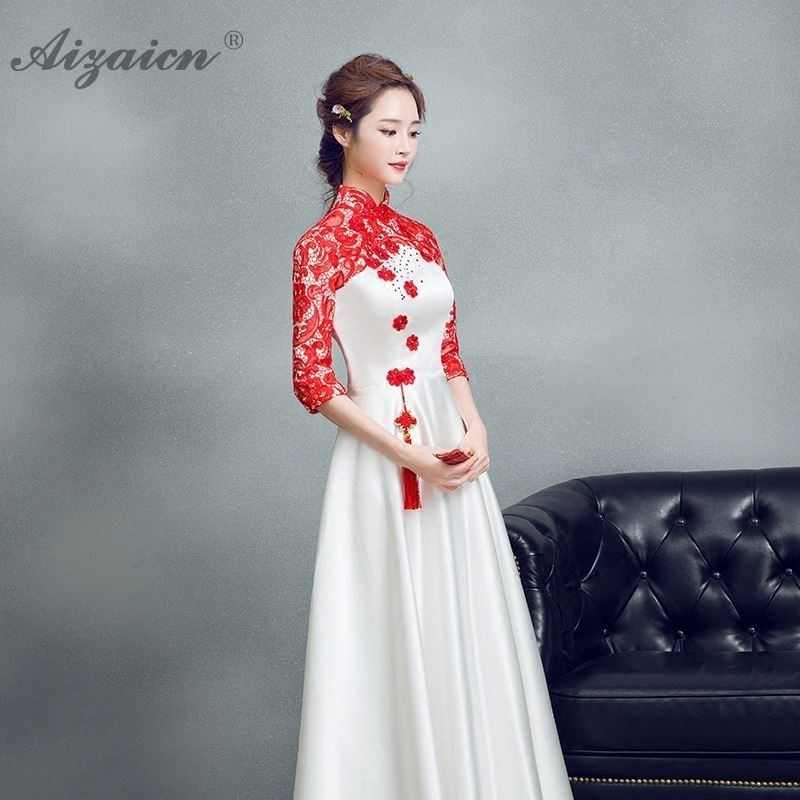 White Embroidery Satin Chinese Cheongsam Dress Women Long Qipao Dresses Casual Oriental Style Evening Gown Robe Chinoise Choir in Cheongsams from Novelty Special Use