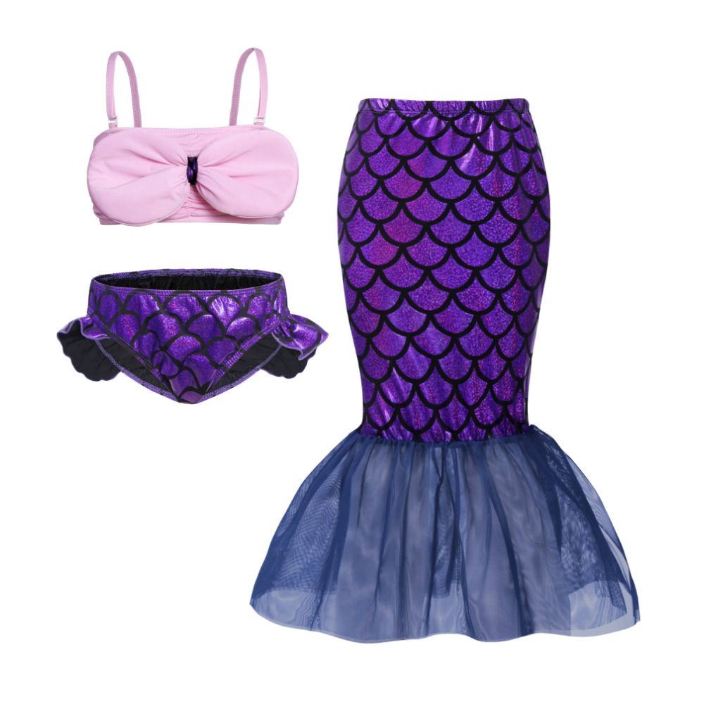 2019 fashion Little Mermaid Swimsuits Girls swimwear Bikini 3 piece princess Toddler Bathing Suit beach Swimwear girl clothes in Swimwear from Mother Kids