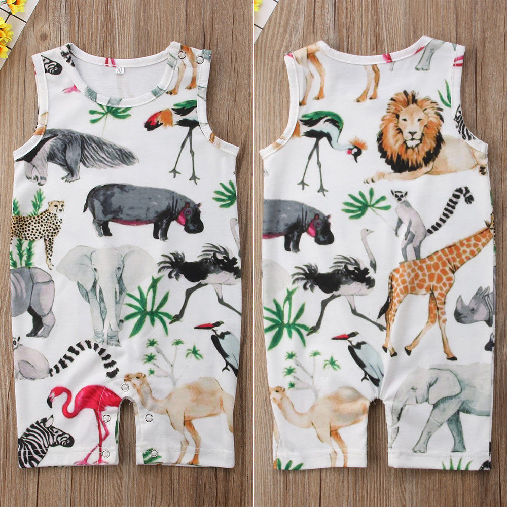 Pudcoco Baby Boy Jumpsuits 0-24M Newborn Baby Girls Boys Animal Full Print   Romper   Floral Sunsuit Clothes
