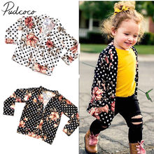 2019 Brand New Spring Autumn Fashion Infant Kids Baby Girls Boho Cardigan Coat Floral Dot Print Open Stitch Slim Outwear 6M-5T(China)