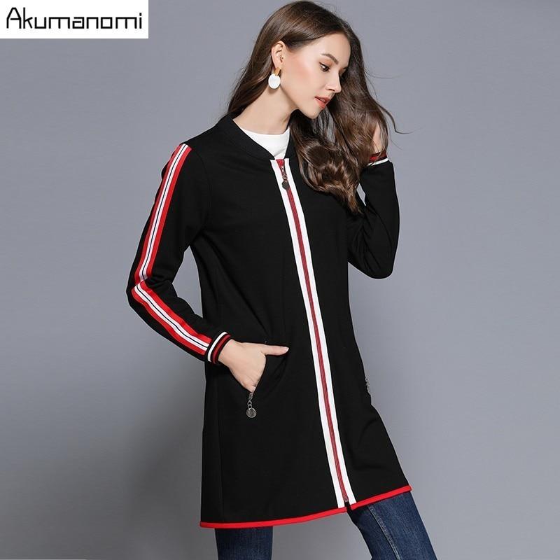 Autumn Coat Women's   Trench   V-neck Full Sleeve Pocket Side Stripe Outerwear Spring Clothing Plus Size 5xl 4xl 3xl 2xl Xl L New