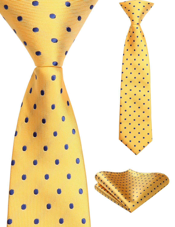 27cm Child Pre-tied Necktie For Boys Paisley Dot Woven Handkerchief Kids Tie School Parent-Child Tie  Pocket Square Set