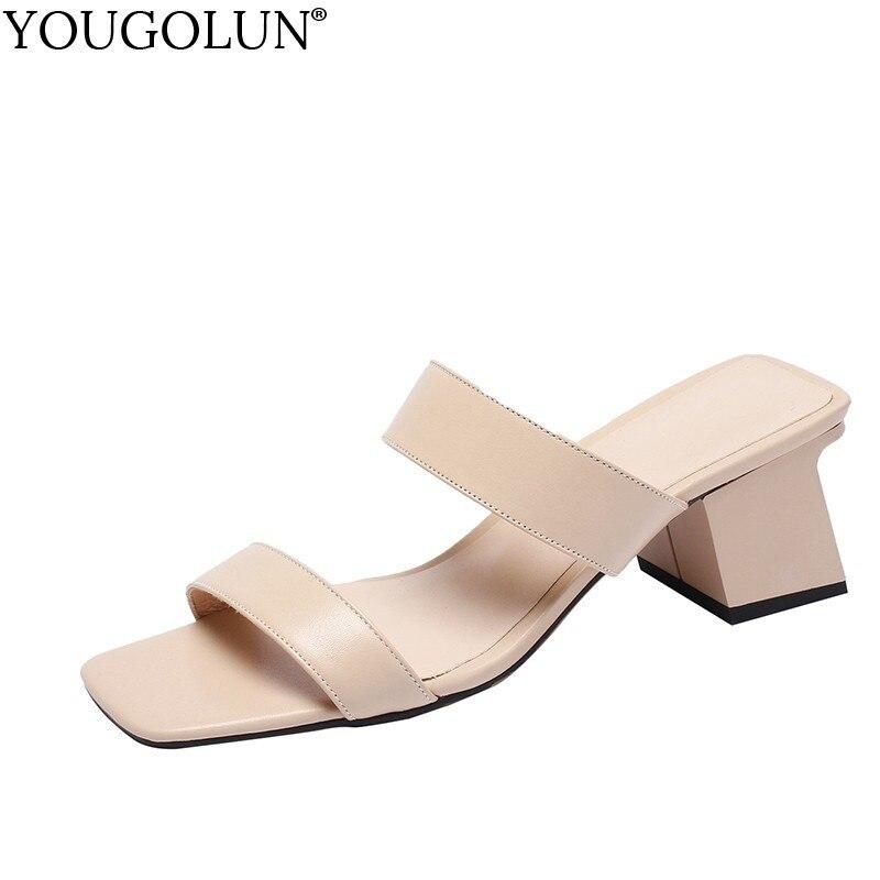 Women Full Genuine Leather Slides Sandal High Heels 5 5cm Summer Slipper Woman Apricot Beige Open